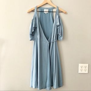 Privacy Please Blue Cold Shoulder Wrap Dress